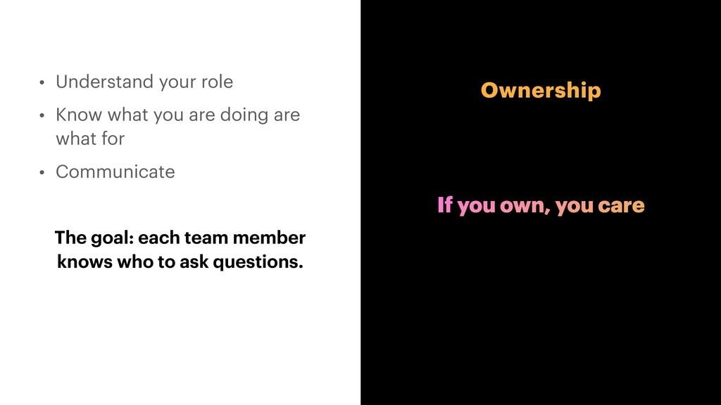 Ownership • Understand your role   • Know what ...
