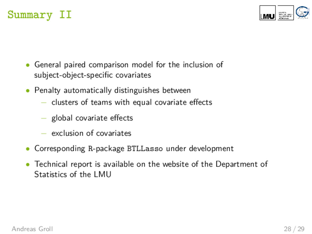 Summary II • General paired comparison model fo...