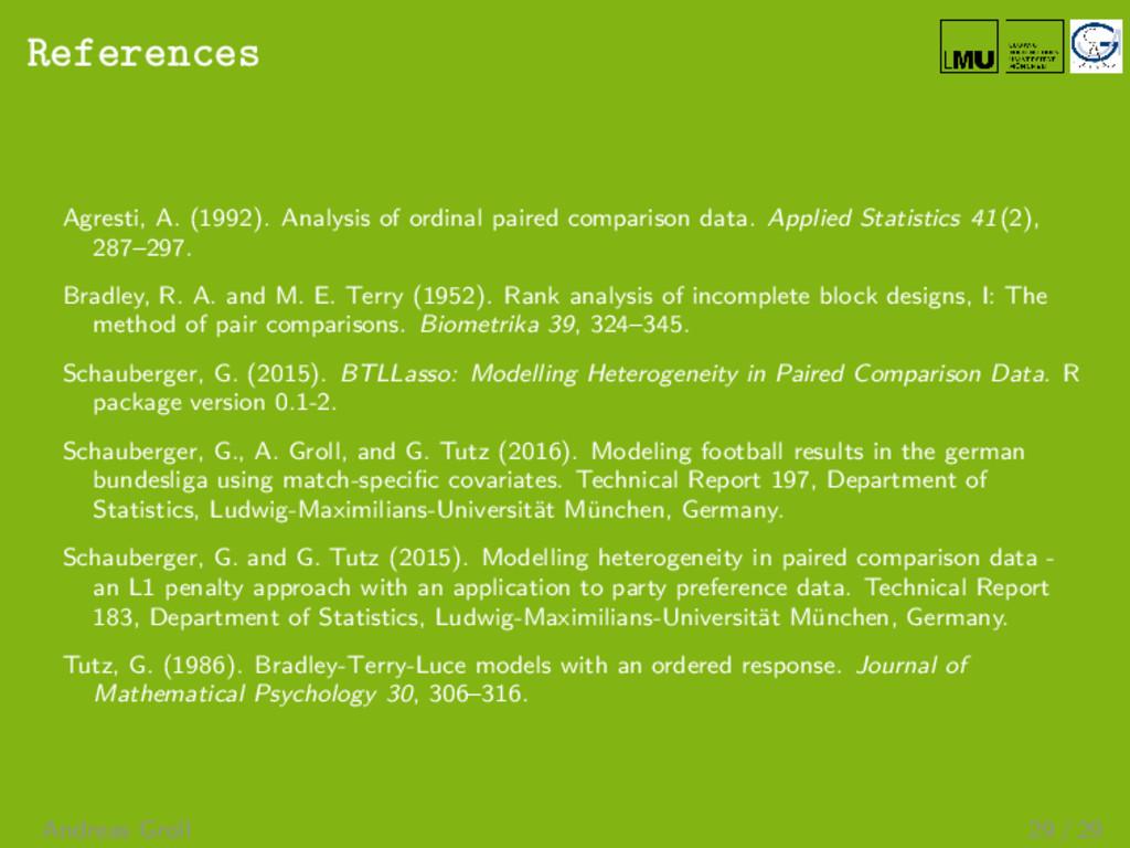 References Agresti, A. (1992). Analysis of ordi...