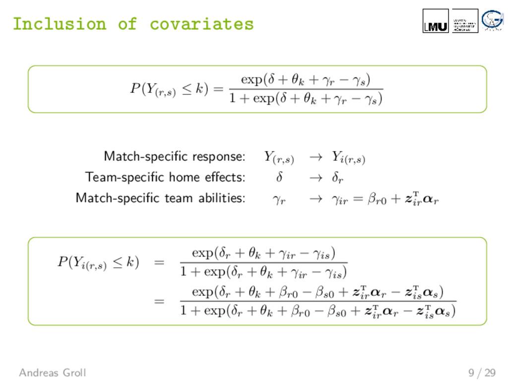 Inclusion of covariates P(Y(r,s) ≤ k) = exp(δ +...