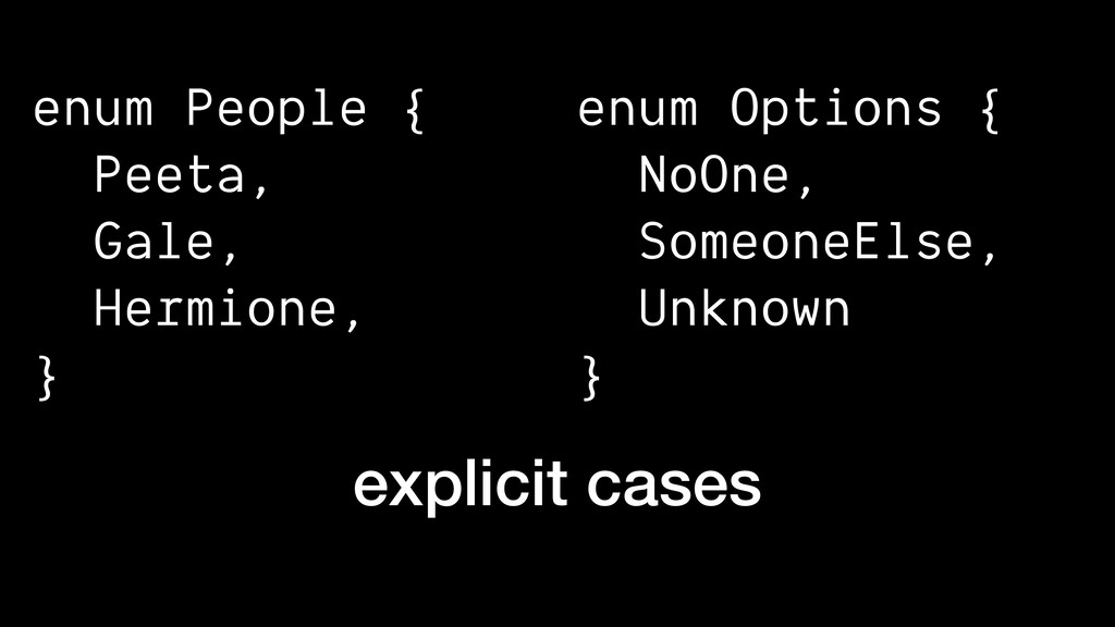 enum People { Peeta, Gale, Hermione, } explicit...
