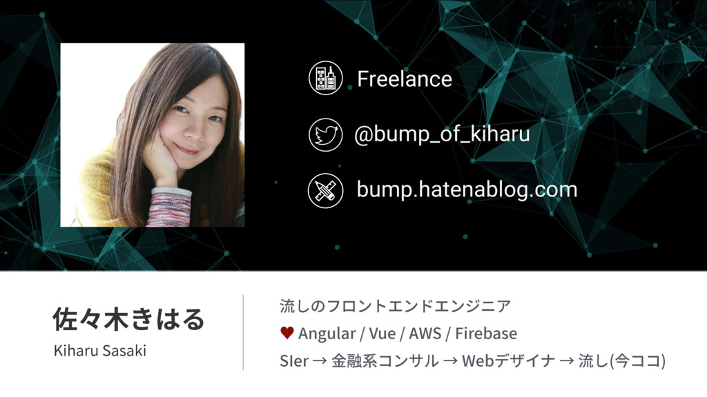 Freelance bump.hatenablog.com @bump_of_kiharu ⡟...