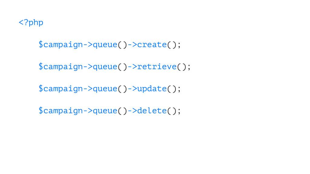 <?php $campaign->queue()->create(); $campaign->...