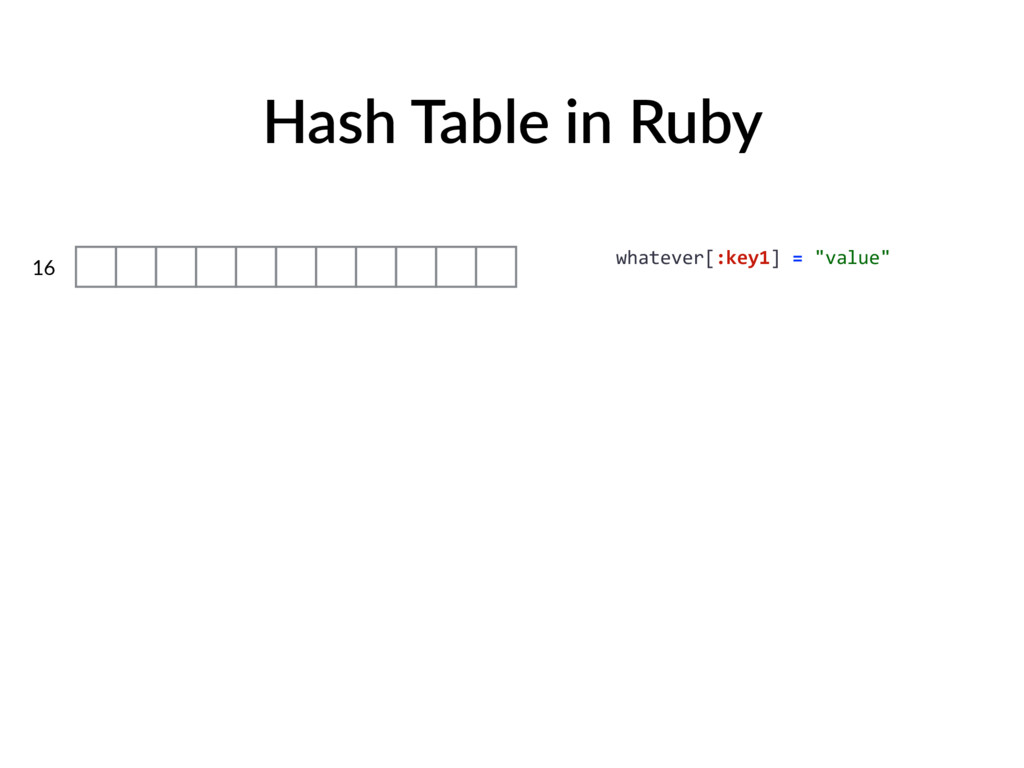 "Hash Table in Ruby 16 whatever[:key1] = ""value"""