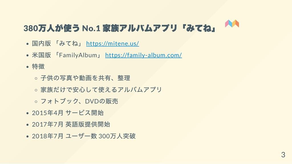 380 万人が使う No.1 家族アルバムアプリ「みてね」 国内版 「みてね」 https:/...