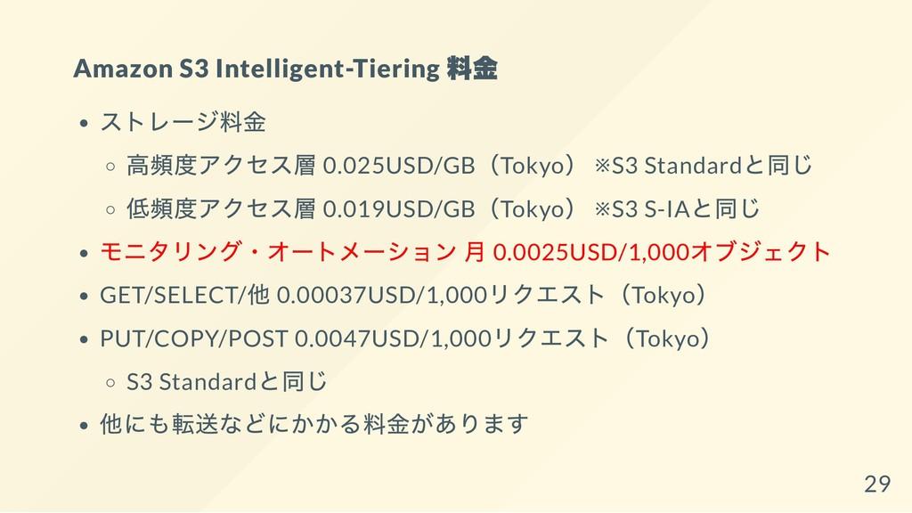 Amazon S3 Intelligent-Tiering 料金 ストレージ料金 高頻度アクセ...