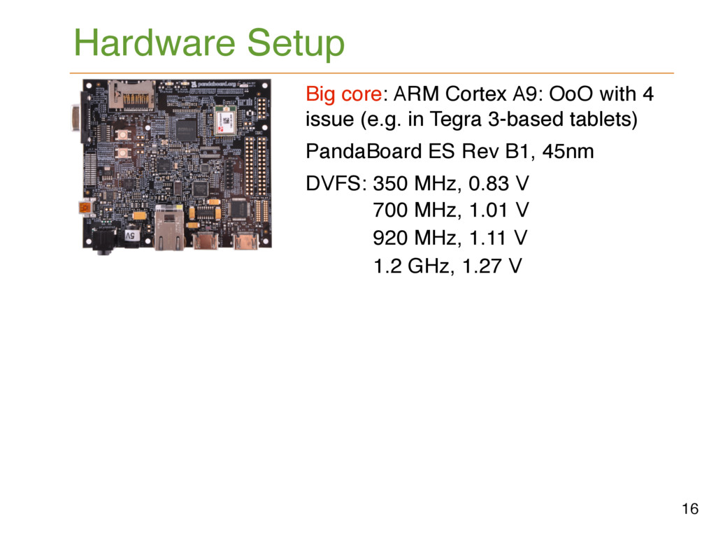 Hardware Setup Big core: ARM Cortex A9: OoO wit...