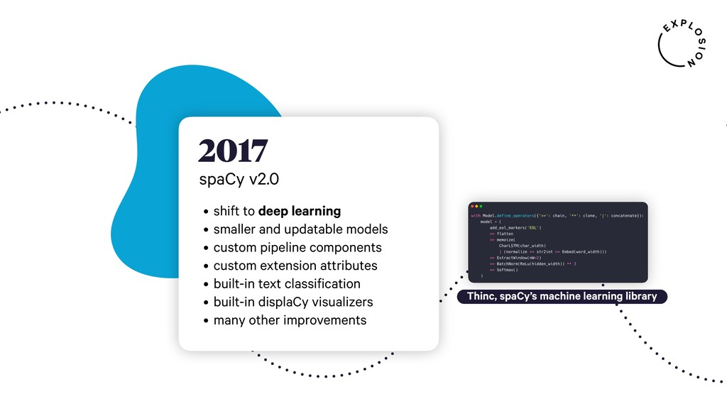 2017 spaCy v2.0 • shift to deep learning • smal...