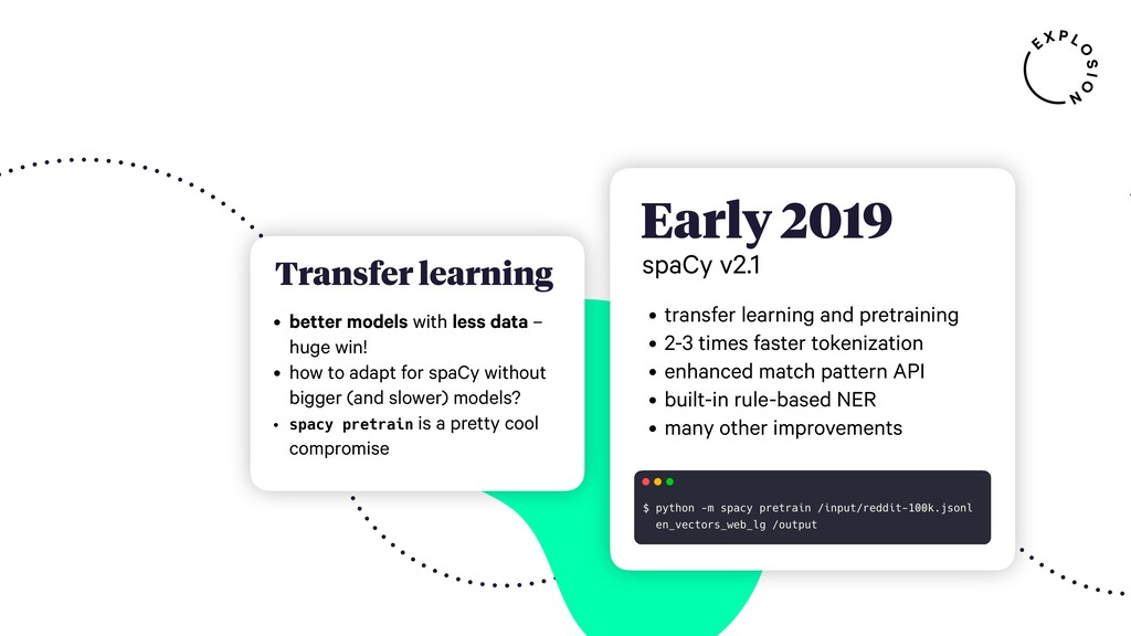 , Early 2019 spaCy v2.1 • transfer learning and...