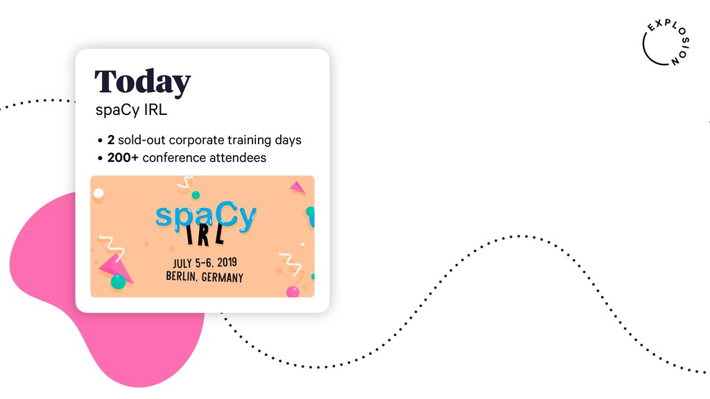 Today spaCy IRL • 2 sold-out corporate training...