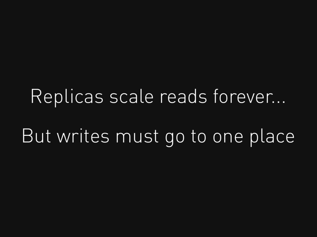 Replicas scale reads forever... But writes must...