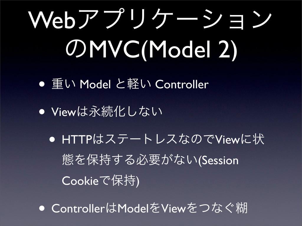 WebΞϓϦέʔγϣϯ ͷMVC(Model 2) • ॏ͍ Model ͱ͍ܰ Contro...