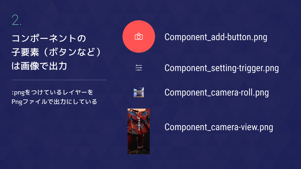 2. コンポーネントの 子要素(ボタンなど) は画像で出力 Component_add-but...