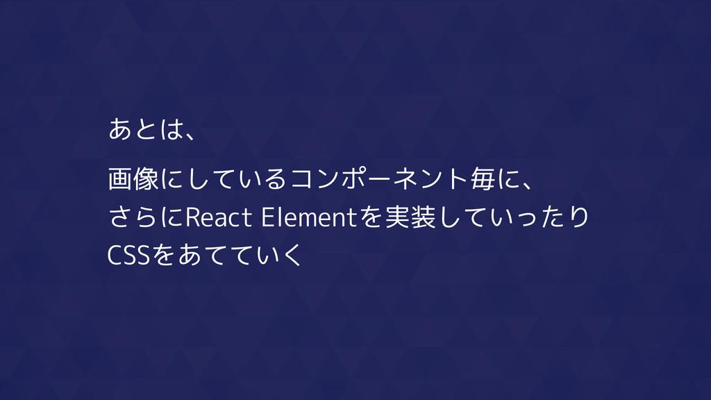 あとは、 画像にしているコンポーネント毎に、 さらにReact Elementを実装していった...