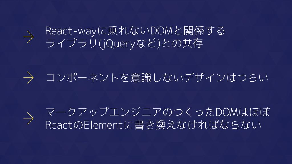 React-wayに乗れないDOMと関係する ライブラリ(jQueryなど)との共存 コンポー...