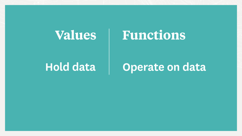 Values Functions Hold data Operate on data
