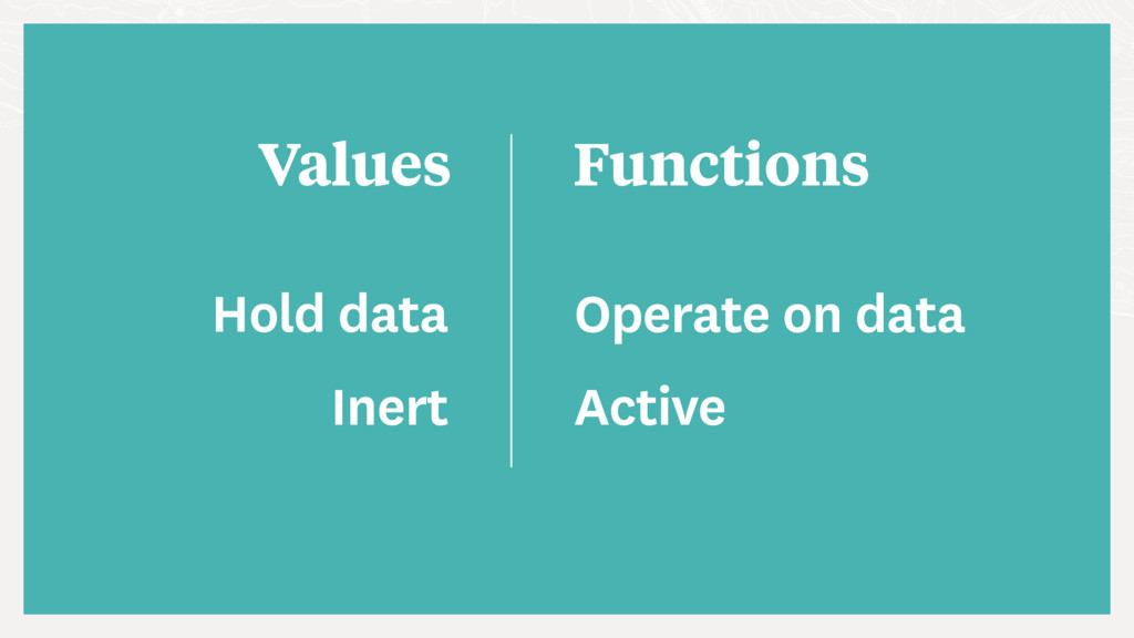 Values Functions Hold data Operate on data Iner...