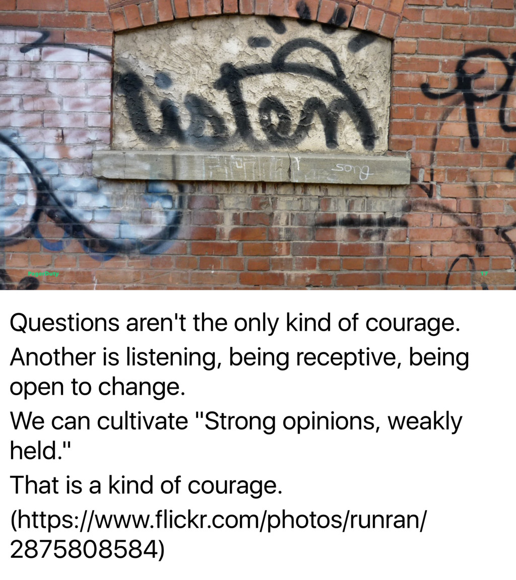 Questions aren't the only kind of courage. Anot...