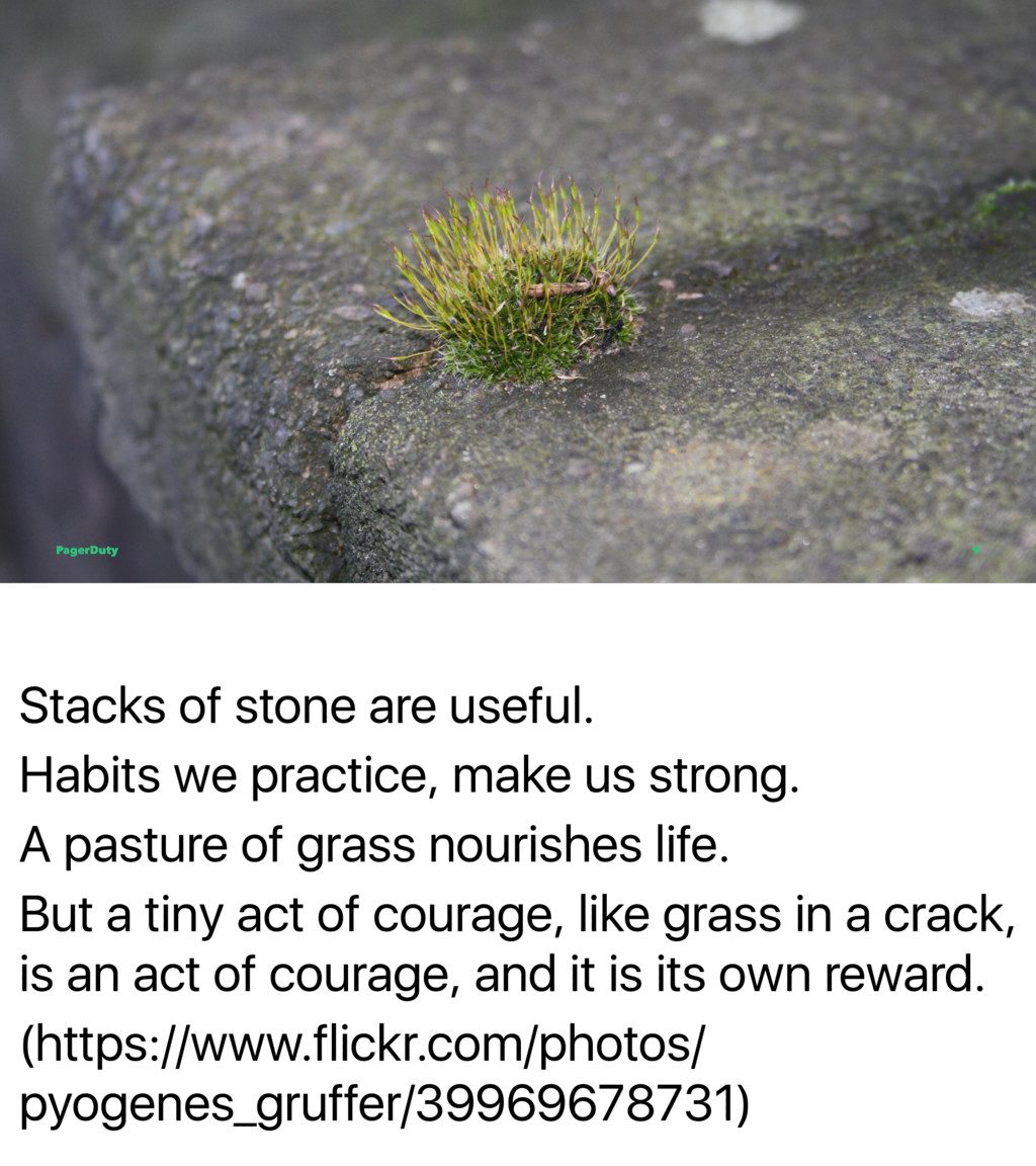 Stacks of stone are useful. Habits we practice,...