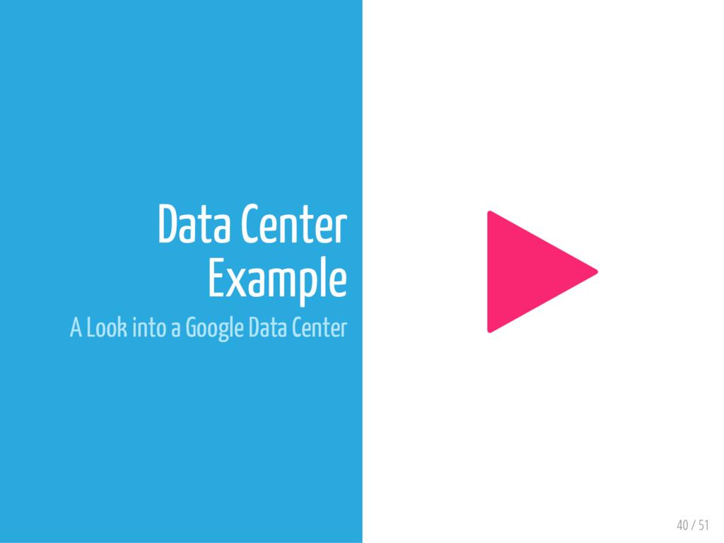 40 / 51 Data Center Example A Look into a Googl...