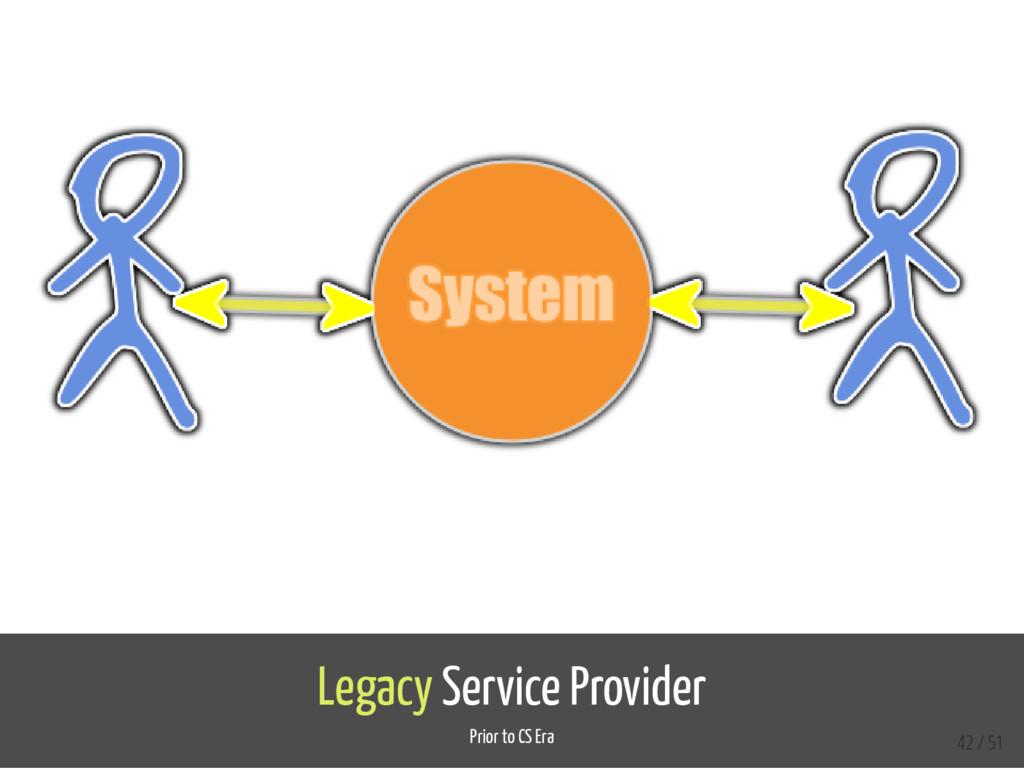 Legacy Service Provider Prior to CS Era 42 / 51