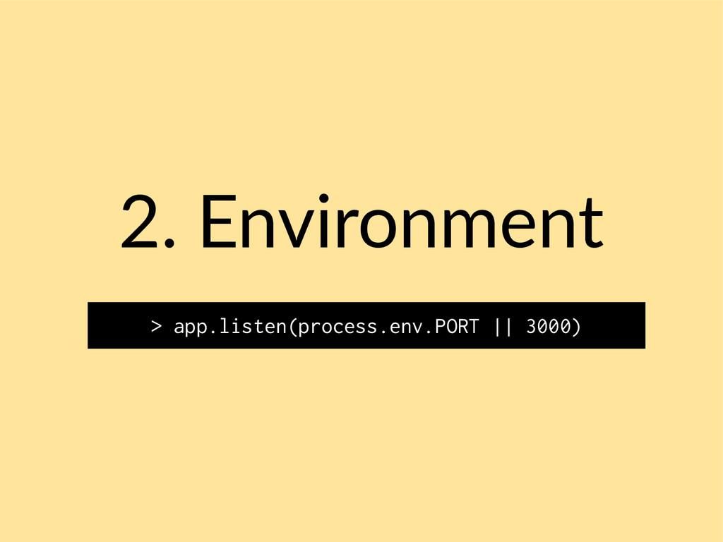 2. Environment > app.listen(process.env.PORT ||...