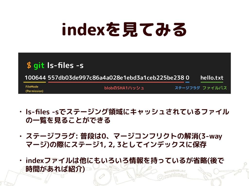 indexを見てみる $ git ls-files -s 100644 557db03de997...
