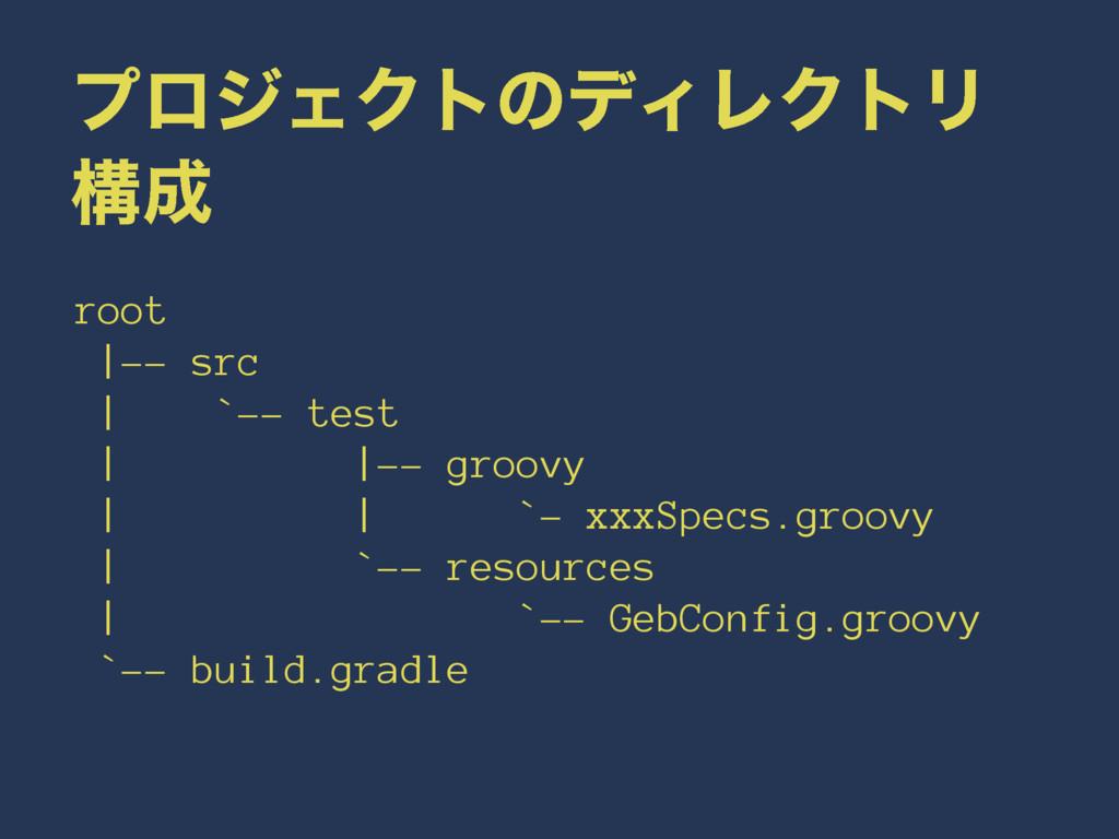 ϓϩδΣΫτͷσΟϨΫτϦ ߏ root |-- src | `-- test | |-- ...