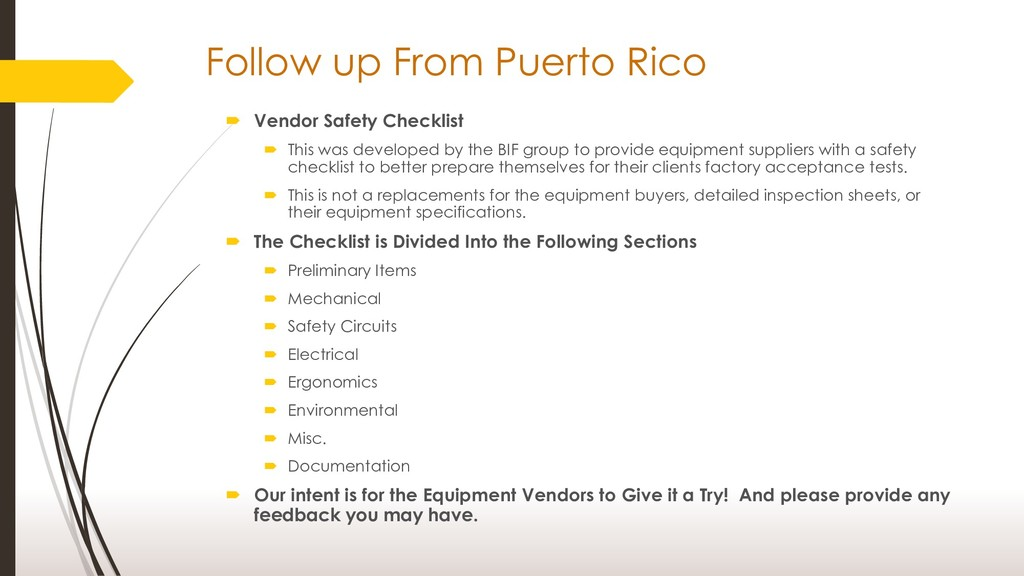Follow up From Puerto Rico  Vendor Safety Chec...