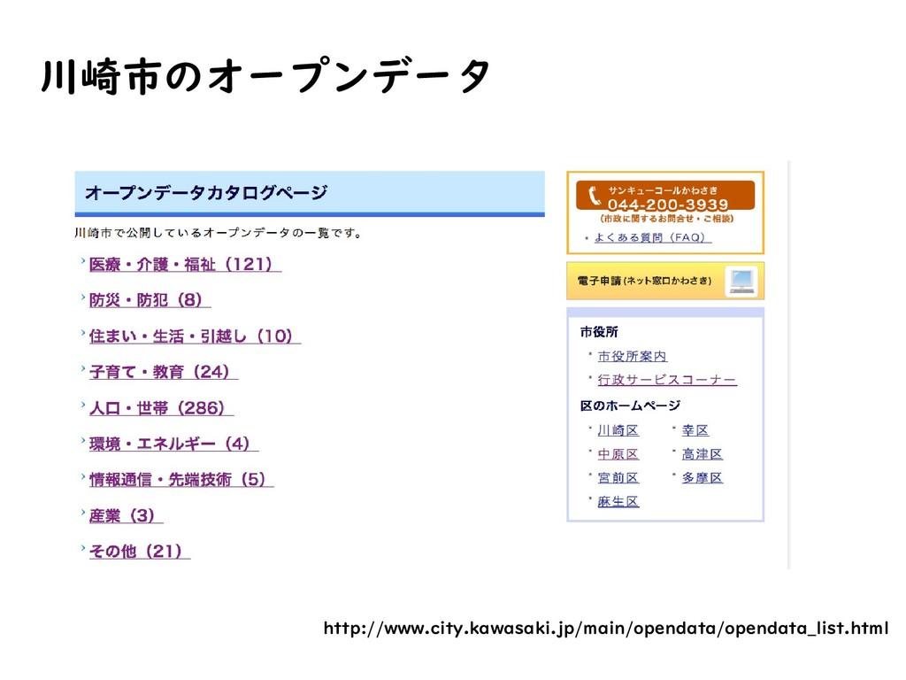 川崎市のオープンデータ http://www.city.kawasaki.jp/main/op...