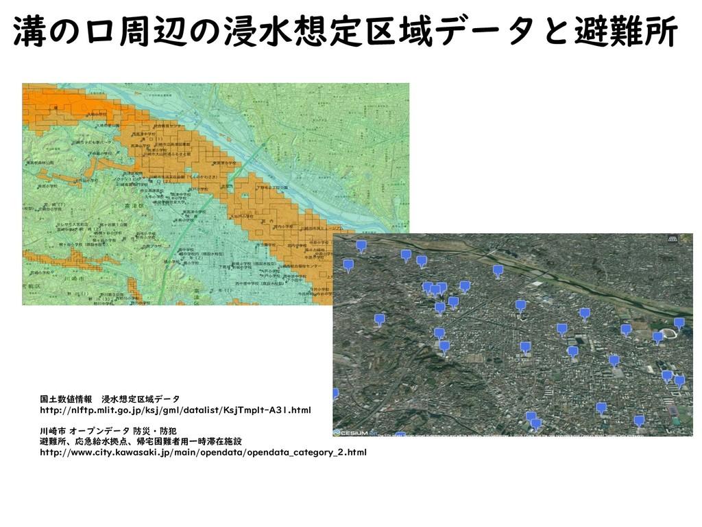 溝の口周辺の浸水想定区域データと避難所 国土数値情報 浸水想定区域データ http://nlf...