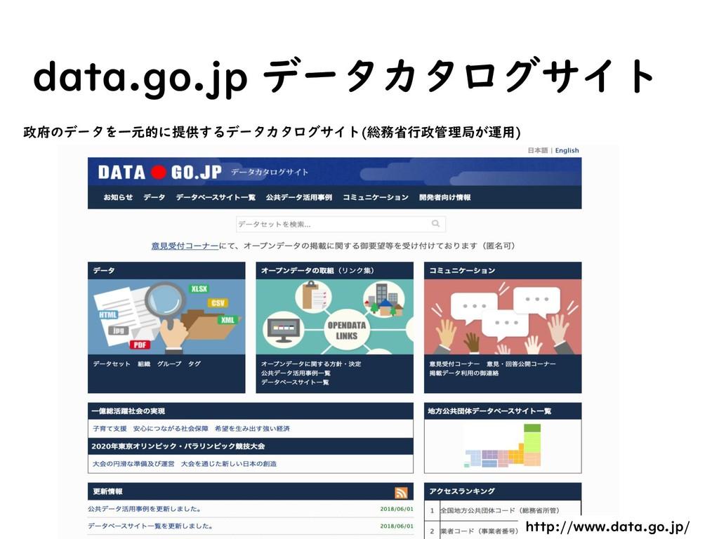 data.go.jp データカタログサイト 政府のデータを一元的に提供するデータカタログサイト...