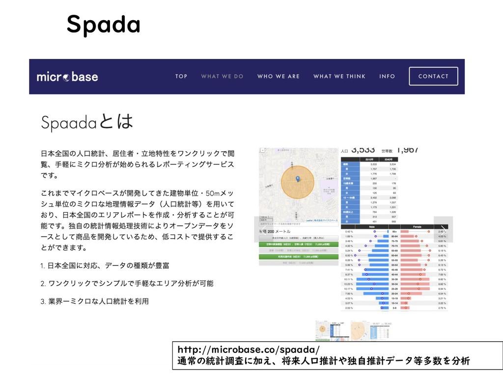 Spada http://microbase.co/spaada/ 通常の統計調査に加え、将来...