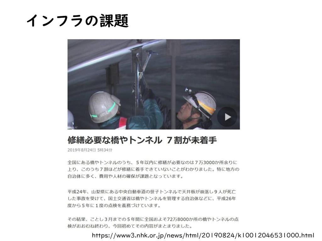 インフラの課題 https://www3.nhk.or.jp/news/html/201908...