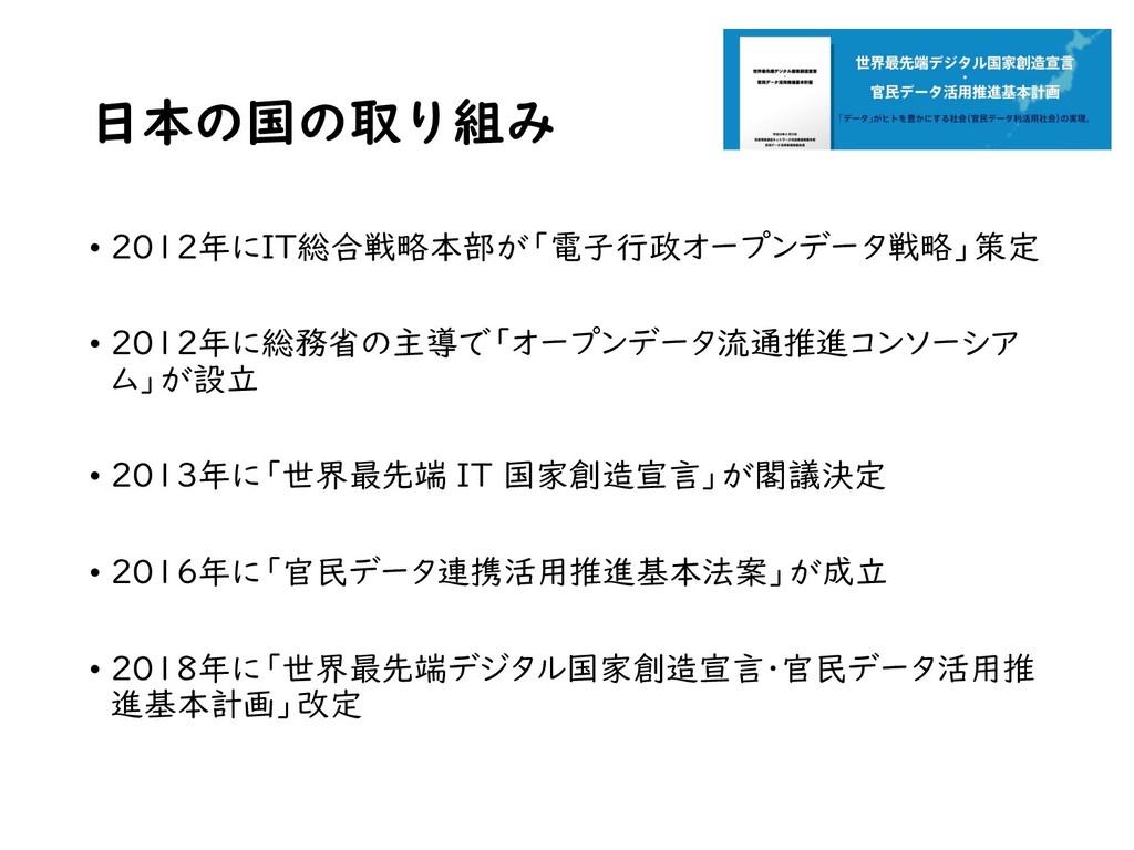 日本の国の取り組み • 2012年にIT総合戦略本部が「電子行政オープンデータ戦略」策定 • ...