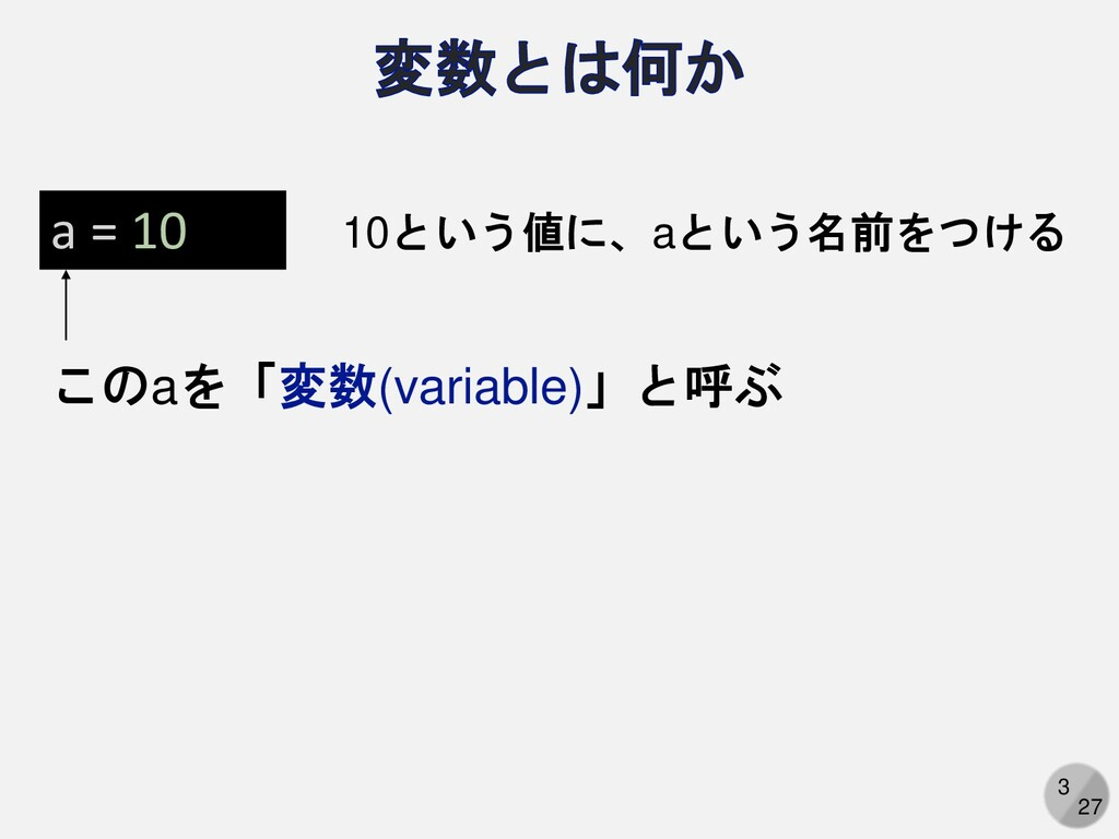 3 27 a = 10 10という値に、aという名前をつける このaを「変数(variable...