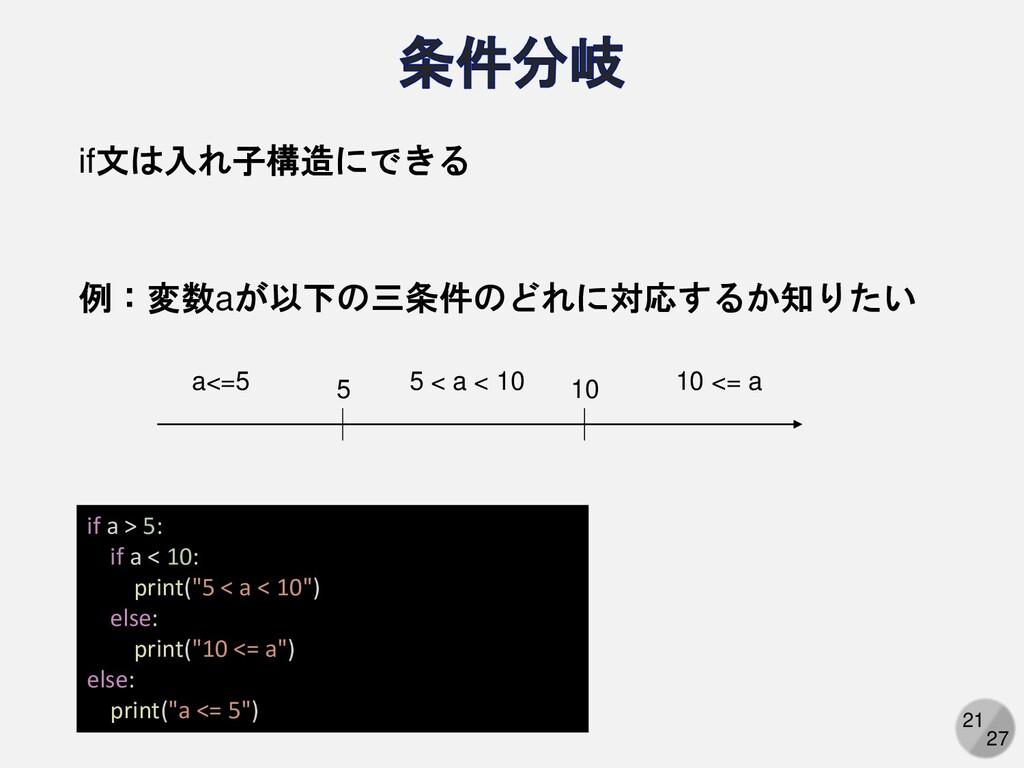 "21 27 if a > 5: if a < 10: print(""5 < a < 10"") ..."