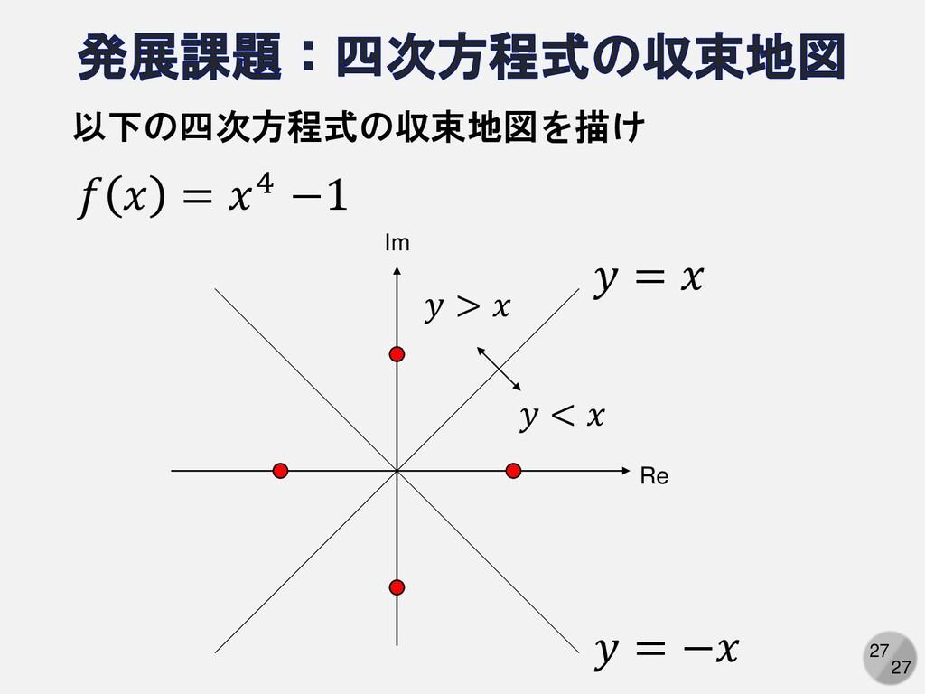27 27 𝑓 𝑥 = 𝑥4 −1 以下の四次方程式の収束地図を描け Re Im 𝑦 > 𝑥 ...