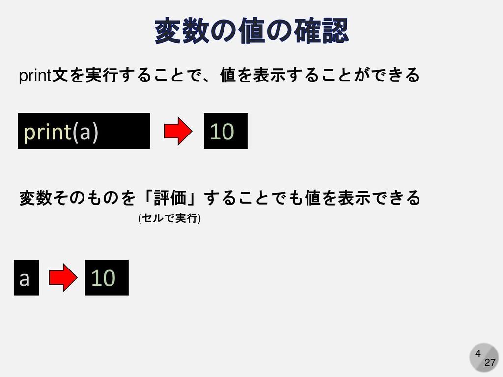 4 27 print(a) a print文を実行することで、値を表示することができる 変数そ...