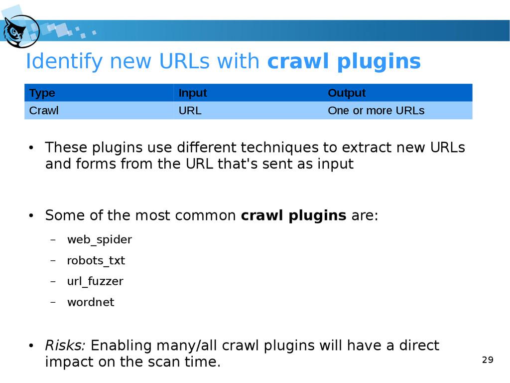 29 Identify new URLs with crawl plugins ● These...