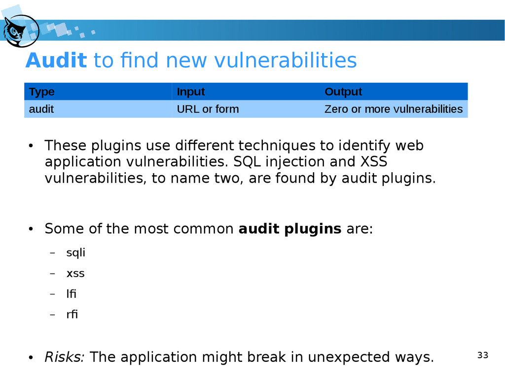 33 Audit to find new vulnerabilities ● These pl...