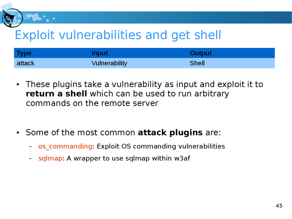 45 Exploit vulnerabilities and get shell ● Thes...