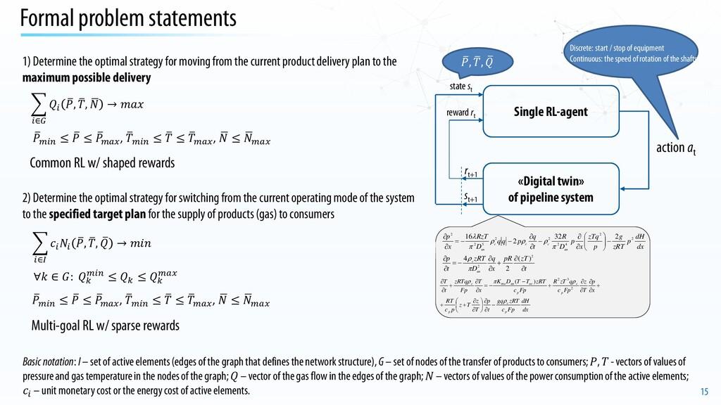 15 Formal problem statements Single RL-agent «D...