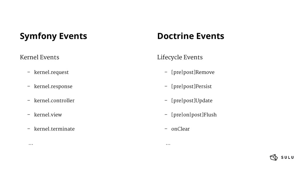 Symfony Events Kernel Events – kernel.request –...