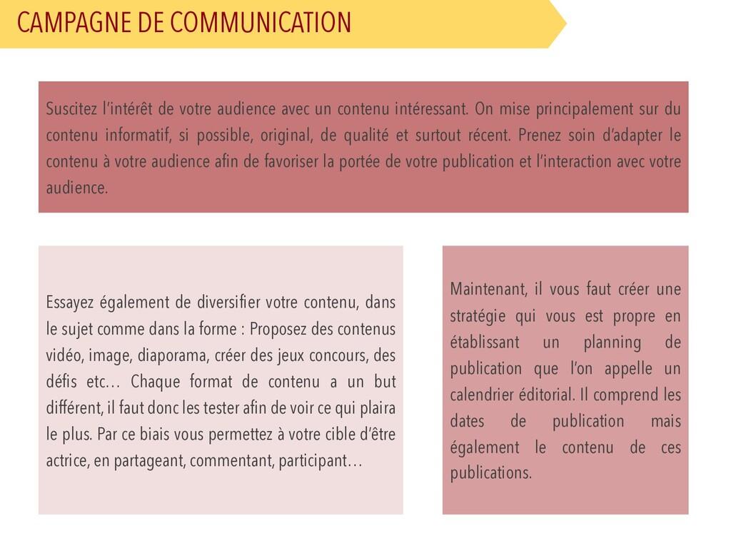 CAMPAGNE DE COMMUNICATION Suscitez l'intérêt de...