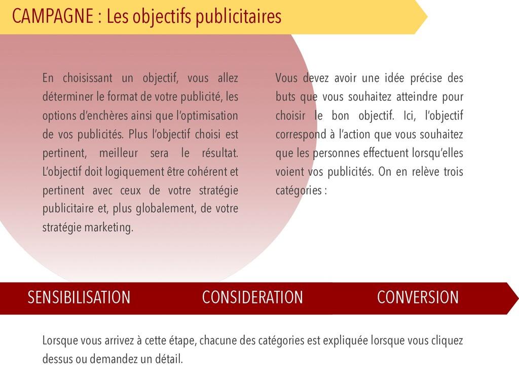 CAMPAGNE : Les objectifs publicitaires En chois...