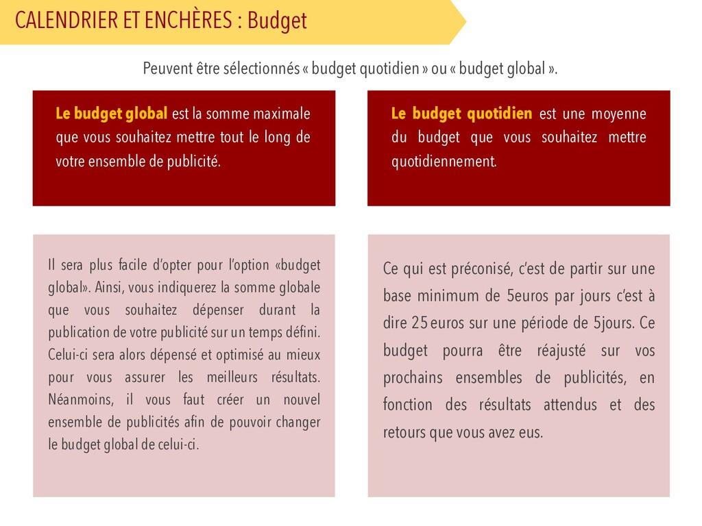 CALENDRIER ET ENCHÈRES : Budget Peuvent être sé...