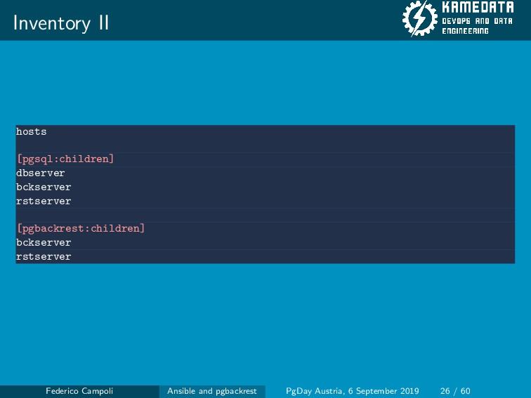 Inventory II hosts [pgsql:children] dbserver bc...