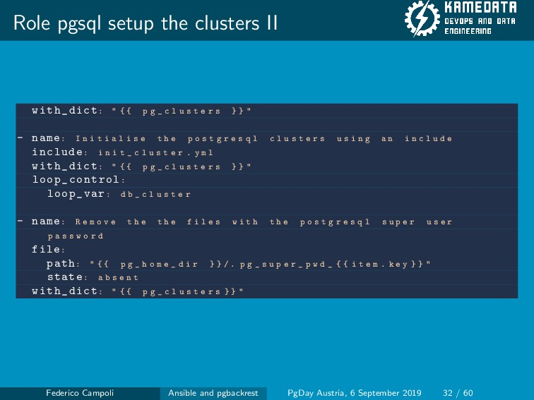 """Role pgsql setup the clusters II with_dict: """" {..."""