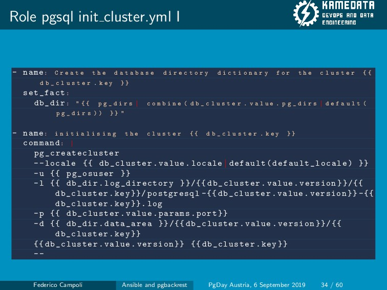 Role pgsql init cluster.yml I - name: C r e a t...
